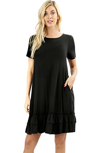 Melody Women Short Sleeve Comfy Middy Ruffled Dress with Pockets (Black, Large)