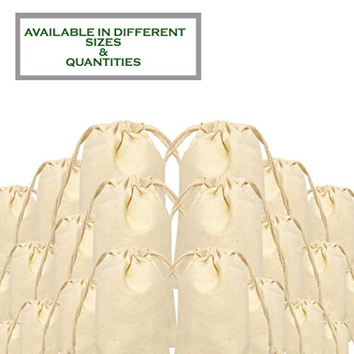 5x7 inches 100% Organic Cotton Double Drawstring Muslin Bags Natural Color (PACK OF 100)