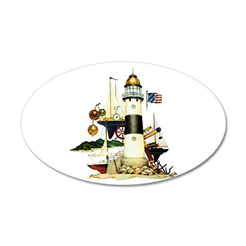 35x21 Oval Wall Vinyl Sticker Nautical Lighthouse Telescope Anchor ()