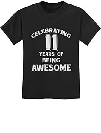11 Years of Being Awesome! Birthday Gift for 11 Year Old Youth Kids T-Shirt X-Small Black