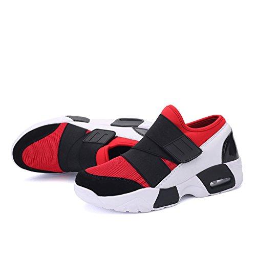 Leader Show Hombres Fashion Zapatillas De Deporte Transpirables Zapatillas De Deporte Velcro Running Rojo