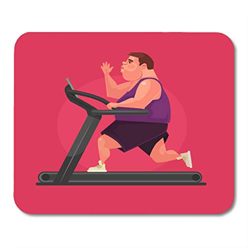 Emvency Mouse Pads Runner Sport Fat Man Character Running Fast on Treadmill Flat Cartoon Overweight Obesity Mouse Pad 9.5