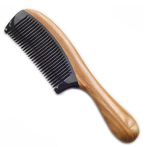 Wide Tooth No Static Black Buffalo Horn Comb with Sandalwood Handle - 8