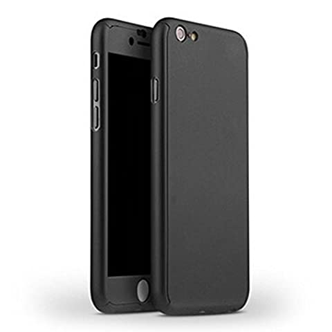 Ultra Thin 360 Case + 9H Tempered Glass Screen Protector for iPhone 6 6S Full Body Cover (Black) (Alcatel Android 4g Fierce 2)