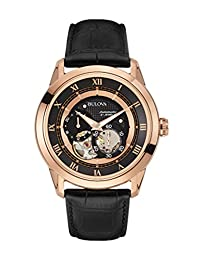 Bulova Men's 97A116 Black Leather Automatic Watch