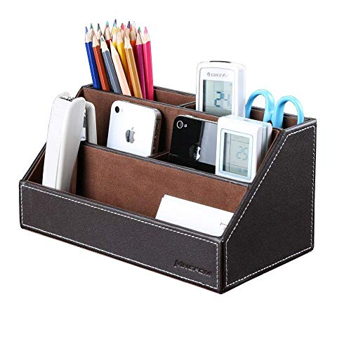 KINGFOM Home Office Wooden Struction Leather Multi-function Desk Stationery Organizer Storage Box, Pen/Pencil,Cell phone, Business Name Cards, Note Paper, Remote Control Holder (brown) (Note Multifunction Leather)