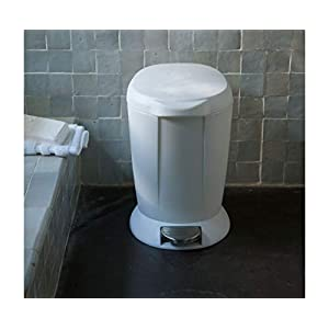 simplehuman 6 Liter / 1.6 Gallon Compact Plastic Round Bathroom Step Trash Can, White Plastic