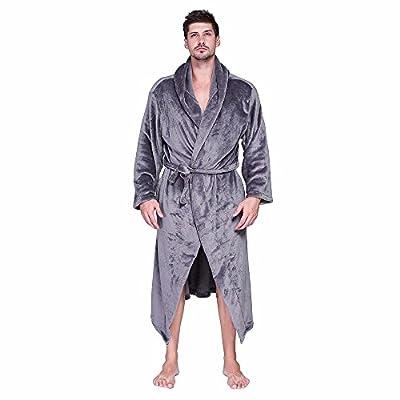 Warm Mens Womens Hooded Robe Plush Shawl Kimono Bathrobe Coat