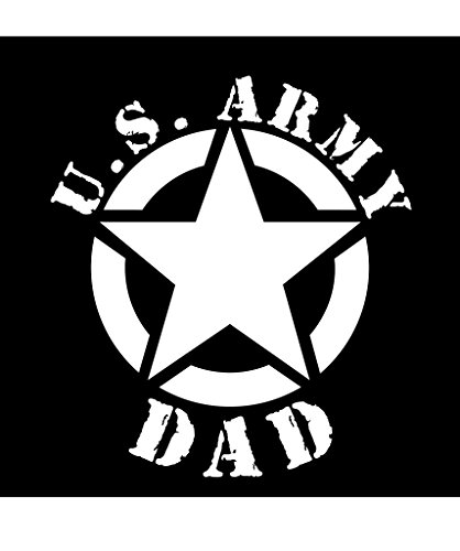 Army Dad Star Vinyl Decal Sticker | Cars Trucks Vans Walls Laptops Cups | White | 5.5 X 5 Inch | KCD1726 ()