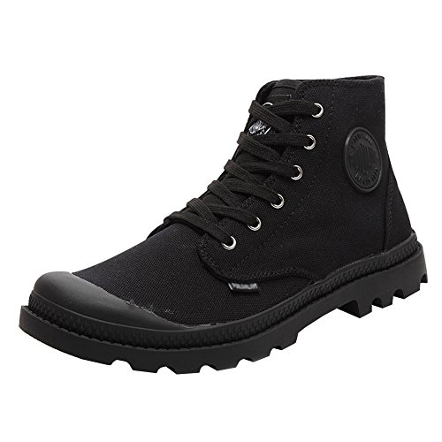 Unisex Couple Men's Women's Outdoor Canvas Combat High top Sneaker Field Paladin Boots Black 44-Men US9.5 by MAIERNISI JESSI