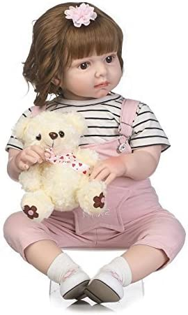 "Reborn Doll Toddler Newborn Baby Girl Long Hair 28/"" Handmade Lifelike Soft Vinyl"