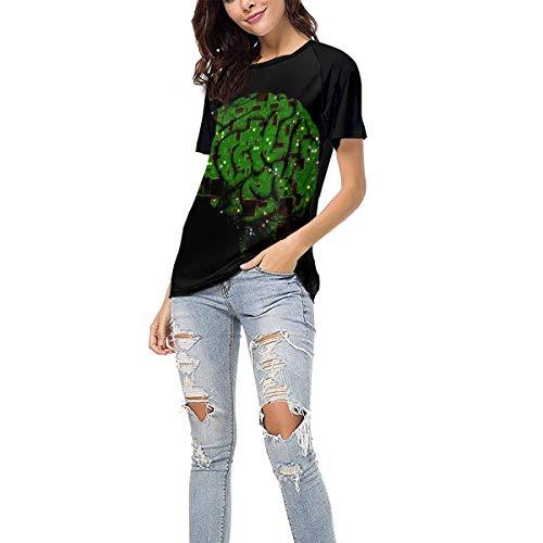 Laki-co Women's Summer Short Sleeve - Green Computer Route Brain Casual Raglan Tee Baseball Tshirts Tops Blouse -