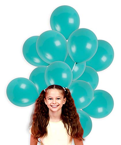 (Treasures Gifted Turquoise Teal Solid Balloons 12 Inch Thick Latex Balloon Pack of 100 and 65 Yards Curling Ribbon Party Kit for Under The Sea Birthday Baby Shower Bachelorette Wedding Decorations)