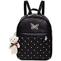 ShopyVid® Girls Fashion Women's PU Leather Teddy Keychain Stylish and Trending High Quality Women Backpack for College Office Bag Girls Handbag Purse (Black)
