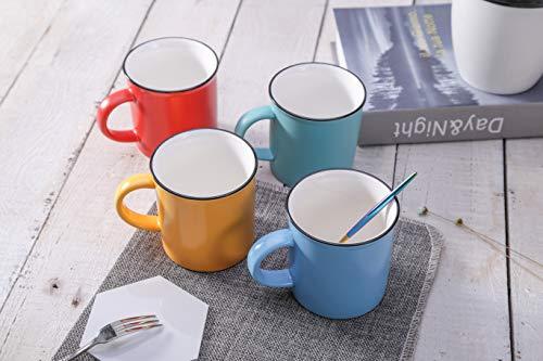 Coffee Mugs Set of 4, 9.5 OZ (280 ML), 4 Color Fine Bone China Ceramic Coffee Tea Cups Set