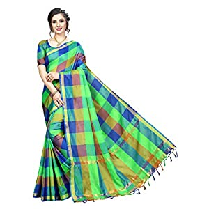 Tarshika women's Cotton Silk style saree with blouse piece (Multi-Color_Free_Size) TK-IKKAT CHECKS