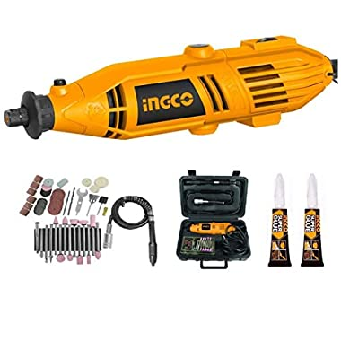 INGCO Mini Die Grinder Rotary 130W Tool Kit with 52pcs accessories and Variable Speed for Drilling, Sanding, Buffing, Polishing, Engraving, etc 7