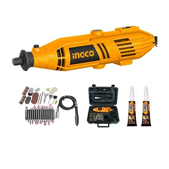 INGCO Mini Die Grinder Rotary 130W Tool Kit with 52pcs accessories and Variable Speed for Drilling, Sanding, Buffing, Polishing, Engraving, etc 1