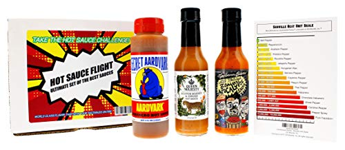 Hot Sauce Flight Gift Set - The Ultimate Set of the Best Hot Sauces. Take the Hot Sauce Challenge! Secret Aardvark's Habanero 8oz, Queen Majesty Scotch Bonnet & Ginger 5oz, and Torchbearer Sauce 5oz