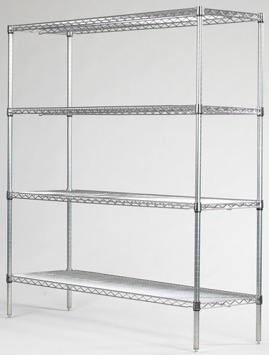 Omega Precision - Chrome Wire Shelving Starter Unit: Qty(4) 18' Deep x 24' Wide Wire Shelves Qty(4) 54' High Posts