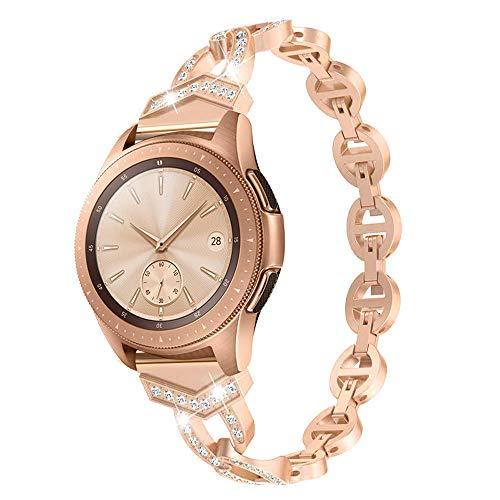 - Bling Bands for Samsung Galaxy Watch 46mm/Gear S3 Bands, 22mm Diamond Rhinestone Stainless Steel Metal Bracelet Wristband Strap Women Girls Bands for Samsung Galaxy Watch (Rose Gold, 46mm)