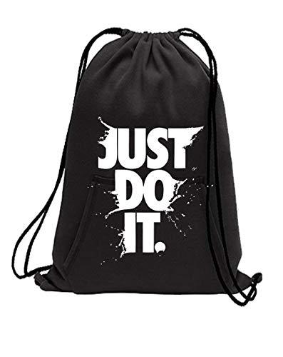 ADYK Cotton Fleece Just Do It Sweat-shirt Drawstring Sports Bag (Black)