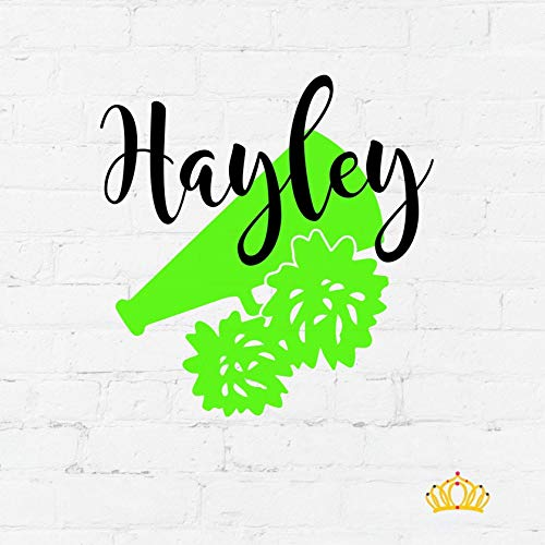 (Personalized Cheer Megaphone Name Decal Sticker, Custom Size and Color)