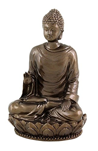Top Collection Small 3' Shakyamuni Buddha Decorative Figurine. Resin with Bronze Finish.