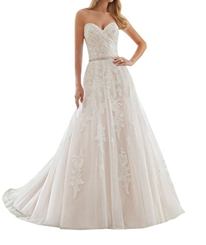 Ivory Sweetheart Neck (Special Bridal Tulle Beadings Bridal Gown Ivory Sweetheart Neck Wedding Dress Simple Wedding Dress For Women)