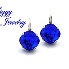 f5f51e3cd Swarovski® Crystal Earrings, Majestic Blue, 12mm Cushion Cut, Royal Blue,  Drops.