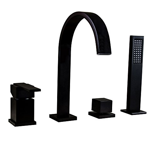 (KunMai Waterfall 4-Hole Roman Tub Faucet with Hand Shower in Solid Black,Deck Mounted Bathtub Filler Faucet with Double Handles)