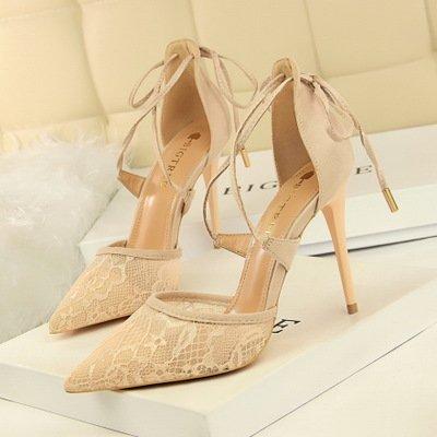 ZHANGYUSEN Sandalias de Verano, Encajes, Pointcuts High-Heeled Zapatos y Tacones Altos, Vendas, Zapatos de Tacón Alto. Rosa