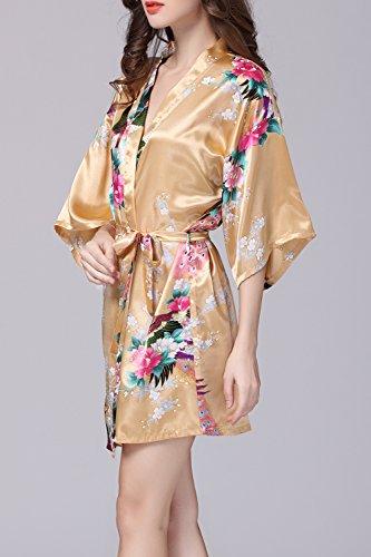 Kimono batas pijamas seda satén estilo corto de las mujeres Yellow