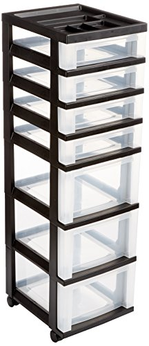IRIS 7-Drawer Storage Cart with Organizer Top, Black