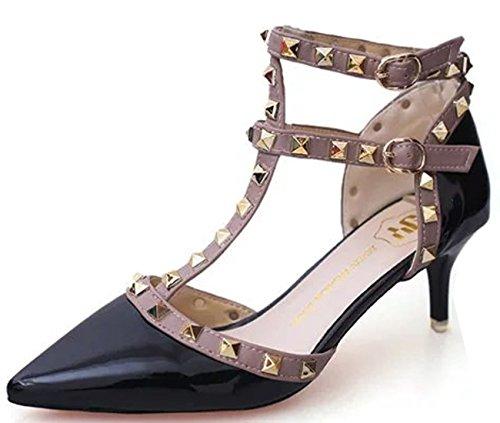 WAROFT Women's Sexy Studded Closed Toe Kitten Heel Dress Shoes Strappy Wedding Court Pumps Black 8.5 B(M) US -