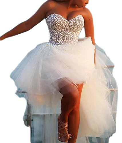 KSDN Hi Lo Women's Pearls Beach Wedding Dress Sweetheart Bridal Gowns (US 12 Ivory) by KSDN