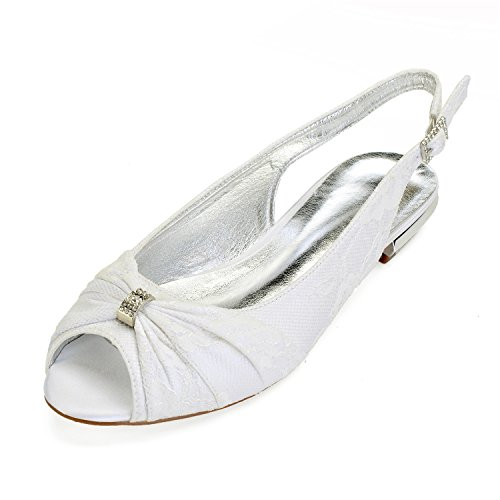 MarHermoso Womens Peep Toe Satin Ballet Pleated Bow Knot Ivory Lace Flat Shoes