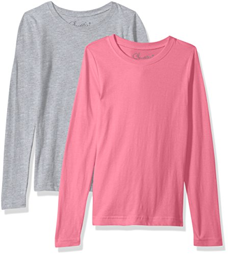 Clementine Apparel Girls 2 Pack Long Sleeve T Shirts Easy Tag Comfort Crew Neck Soft Cotton Blend Undershirts (3711)