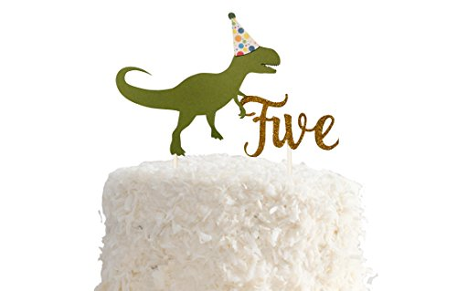 PinkFish Shop Dinosaur Birthday Cake Topper - Cardstock Topper for Dino themed Cake Smash, First Bday, RAWR, with Number (5th -