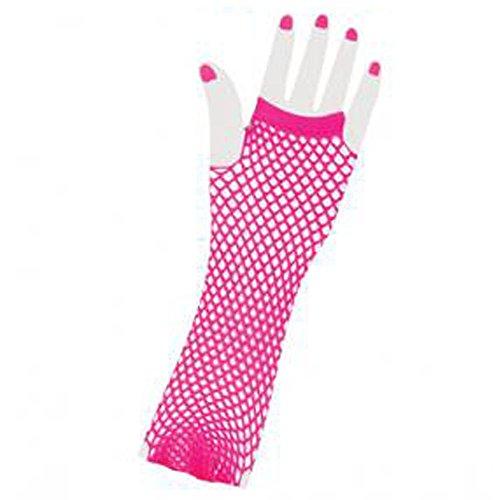 Forum Novelties Neon Long Fingerless Fishnet Gloves, Pink ()