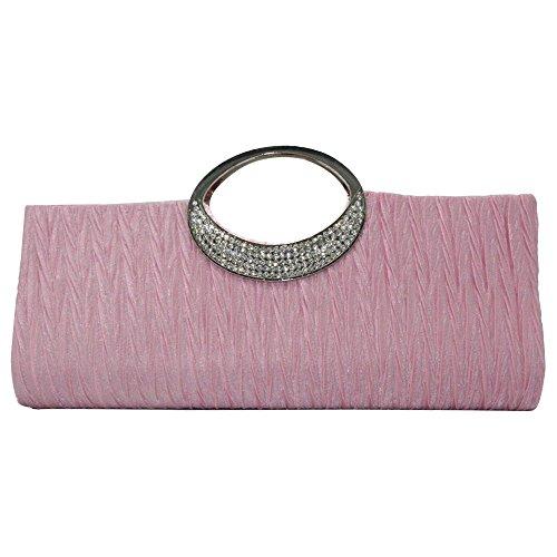 Lady Clutch Pink Women Bridal Diamante Pink Wiwsi Satin Handbags Tote Party Evening Pleat 5Uw7zf7x