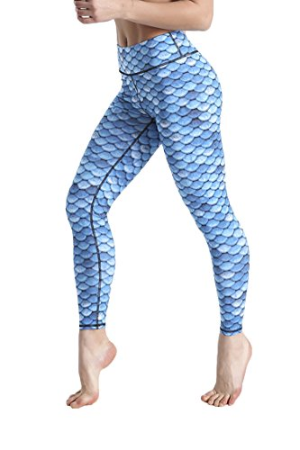 COCOLEGGINGS Women's Fish Scales Printed Bodycon Mermaid Leggings Blue S