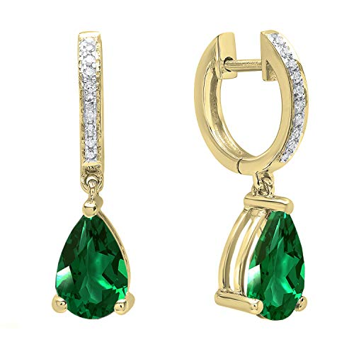 Dazzlingrock Collection 10K 9X6 MM Each Pear Lab Created Emerald & Round Diamond Ladies Dangling Drop Earrings, Yellow Gold