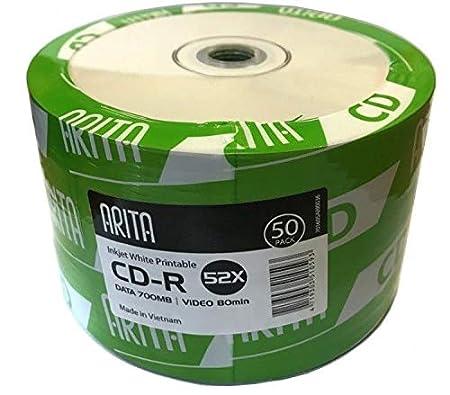 Ritek/- Arita CD-R 52x CD discos de datos 700 MB Video 80 Mins blanco inyección de tinta imprimible (50 unidades)