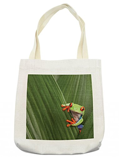 Lunarable Animal Tote Bag, Red Eyed Tree Frog Hiding in Exotic Macro Leaf in Costa Rica Rainforest Tropical Nature, Cloth Linen Reusable Bag for Shopping Groceries Books Beach Travel & More, Cream (Best Shopping In Costa Rica)