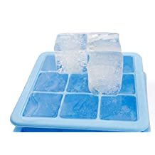 Easy Release Large Ice Cube Trays Molds - 9 Giant Ice Cube Silicone Tray with lids - Jumbo Whiskey, & Cocktails Keep Your Drink Cooled Blue