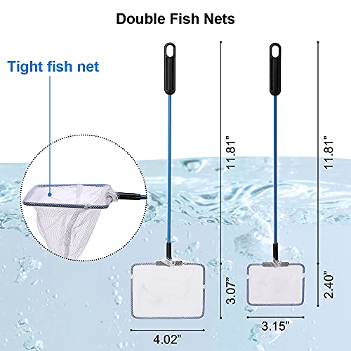 Fish Tank Cleaner Magnetic Floating Glass Cleaning Brush, Fish Net, Siphon Gravel Cleaner Water Exchanger - Aquarium Cleaning Tools Scratch-Free Scrubber Vacuum Algae Scrapers Kit 4 Packs Small