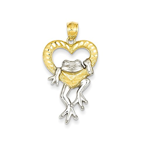 ICE CARATS 14k Yellow Gold Frog In Heart Pendant Charm Necklace Love Animal Fine Jewelry Ideal Mothers Day Gifts For Mom Women Gift Set From (14k Solid Yellow Gold Frog)