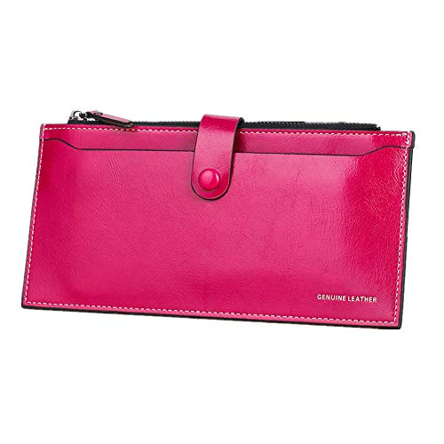 Purse Rose Clutch Women function Red Long rabbit Multi Oil Mobilephone For Waxed Lovely Orange Color Bag Zipper 0q4Sw4