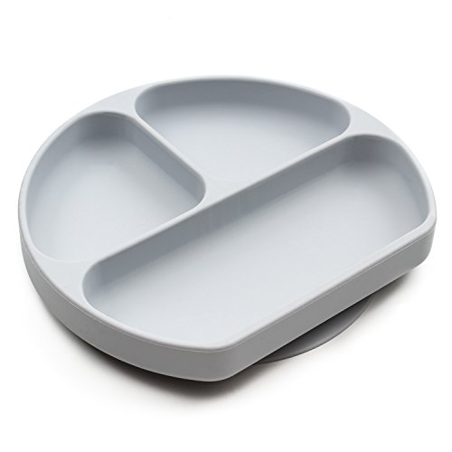 Bumkins Silicone Grip Dish, Suction Plate, Divided Plate, Baby Toddler Plate, BPA Free, Microwave Dishwasher Safe  Gray
